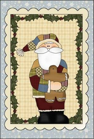 Quilted Santa Applique Pattern - Christmas Applique Pattern