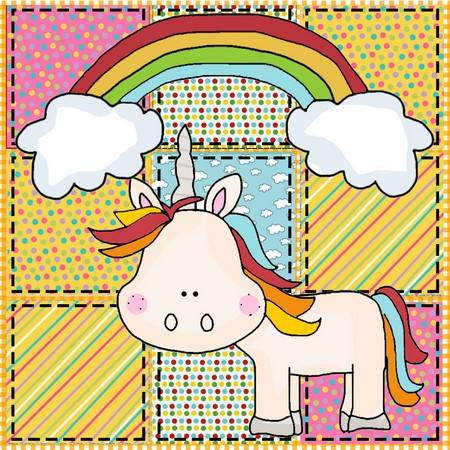 Rainbow Unicorn Applique Pattern